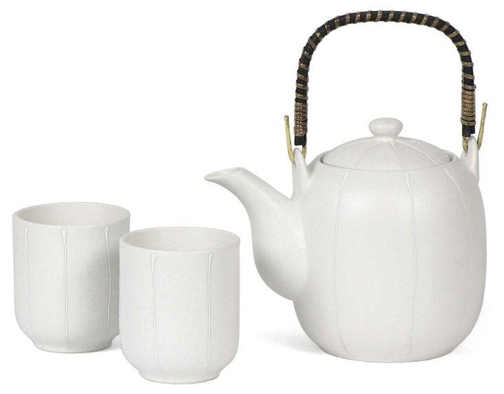 White Melon Stripe Tea Set