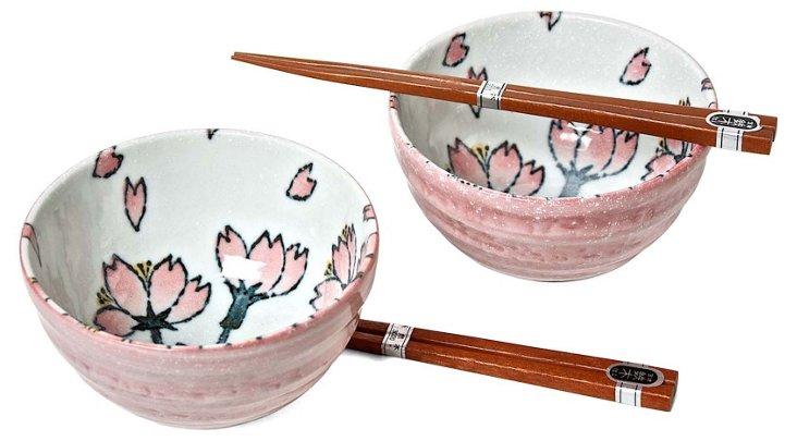 Pink Sakura Bowl Set for Two