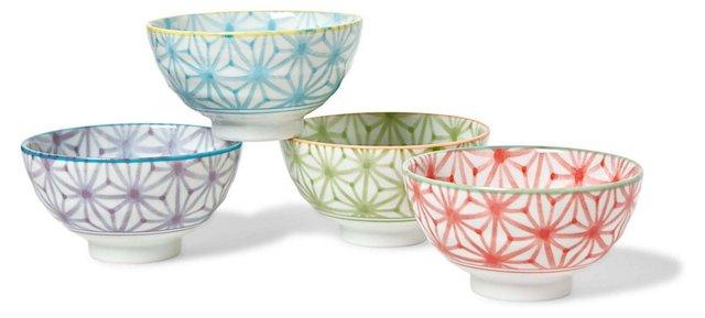 S/4 Assorted Ceramic Sashiko Rice Bowls