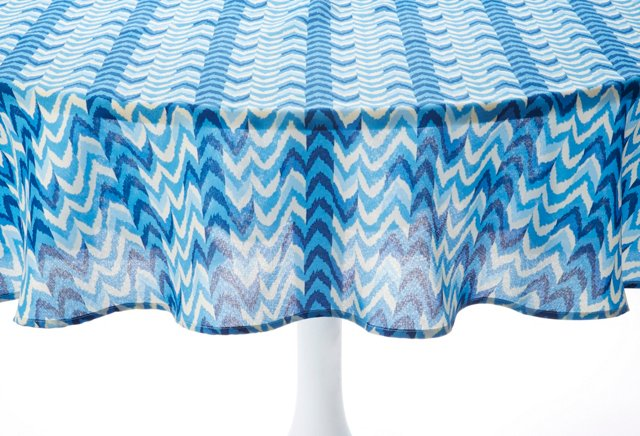 "Tablecloth 70"" Round, Blue Ikat"