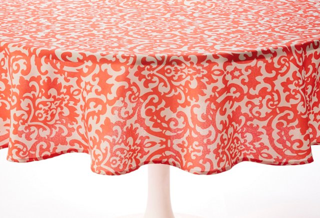 Coral Damask Tablecloth