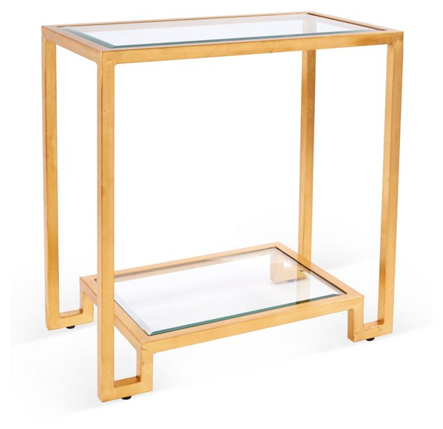 Domino Side Table, Gold