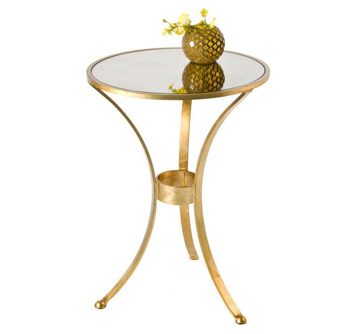 Mirrored Glass Round Table, Gold