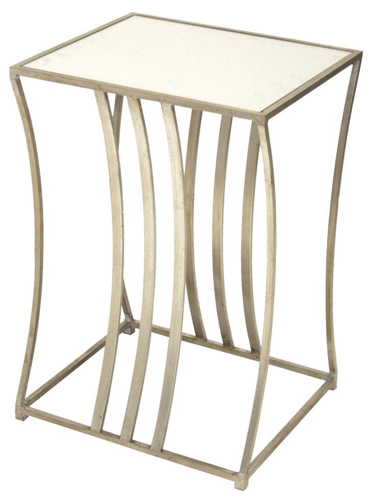 Luca Mirrored Contour Side Table, Silver