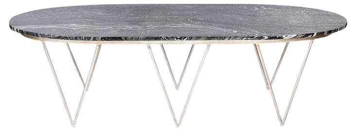 Isabelle Coffee Table, Black/Silver