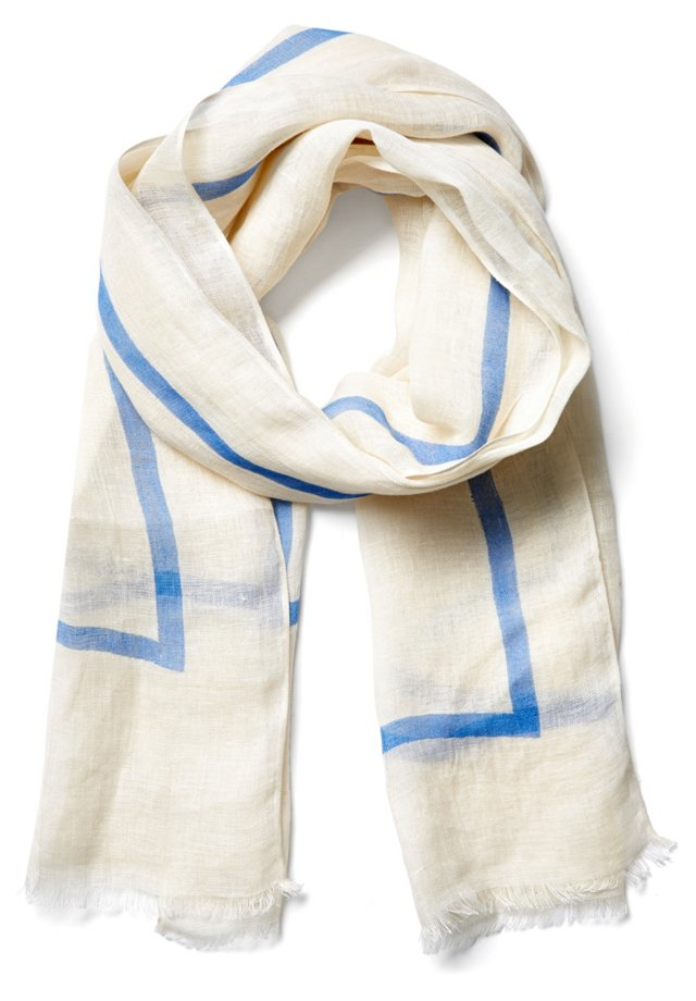 Neon Line Scarf, Blue/Ivory