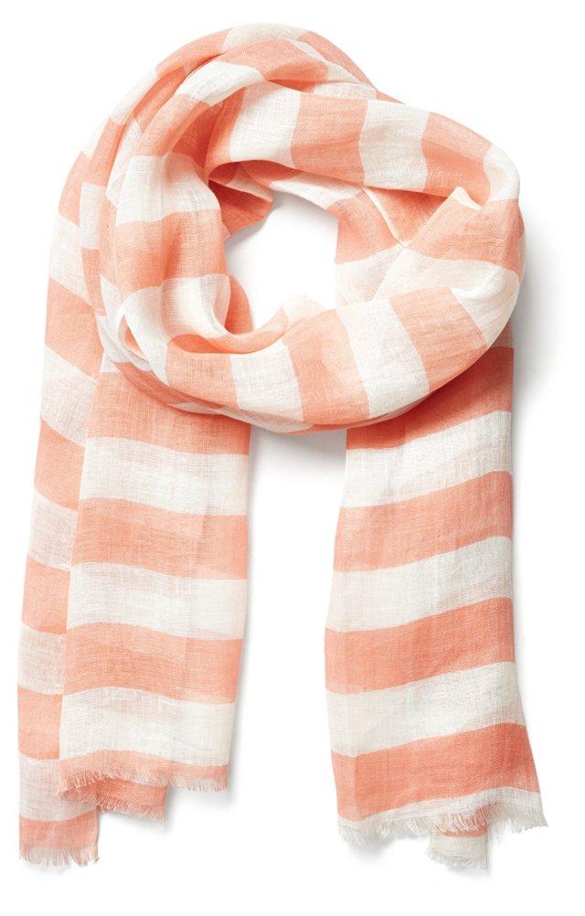 Linen Stripe Scarf, Blush/White