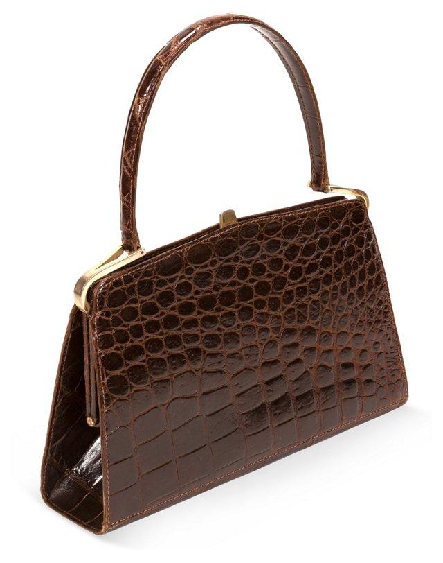 1960s Chocolate Brown Alligator Purse