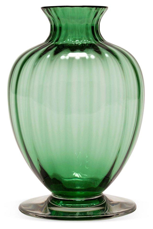 Baccarat Pedestal Vase, Emerald