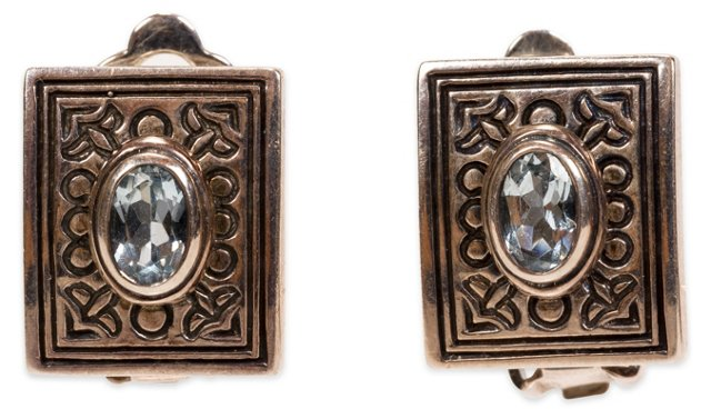 Silver & Blue Stone Clip Earrings, Pair