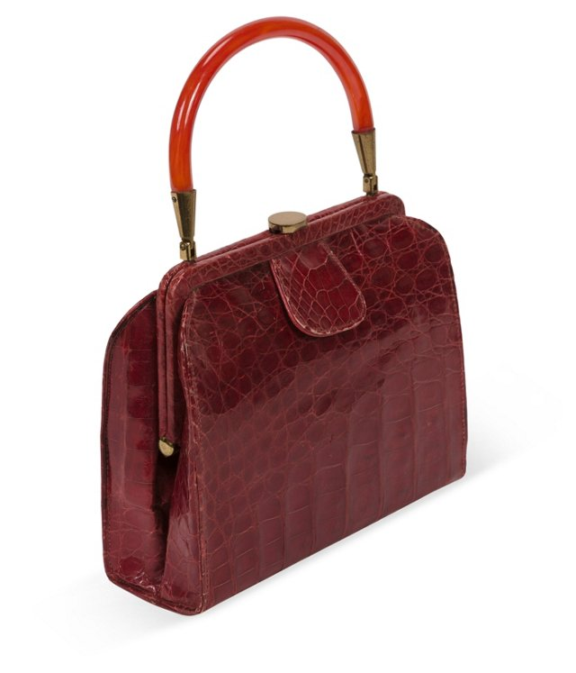 1950s Red Crocodile Purse