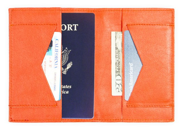 Leather Passport Wallet, Coral