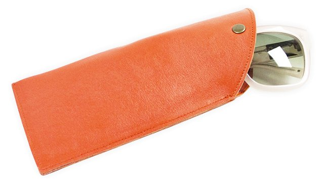 Leather Sunglasses Sleeve, Coral