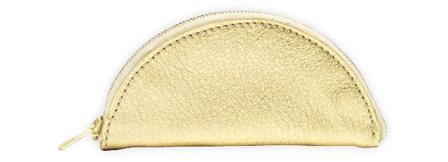 Leather Zipanada Pouch, Gold