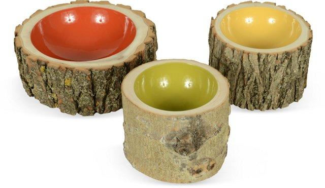 Log Bowls, Set of 3, V