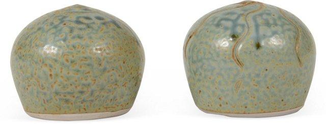 Limeton Teal Glazed Pottery Orbs, Pair