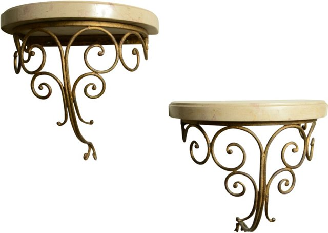 Gilt Wall Brackets, Pair