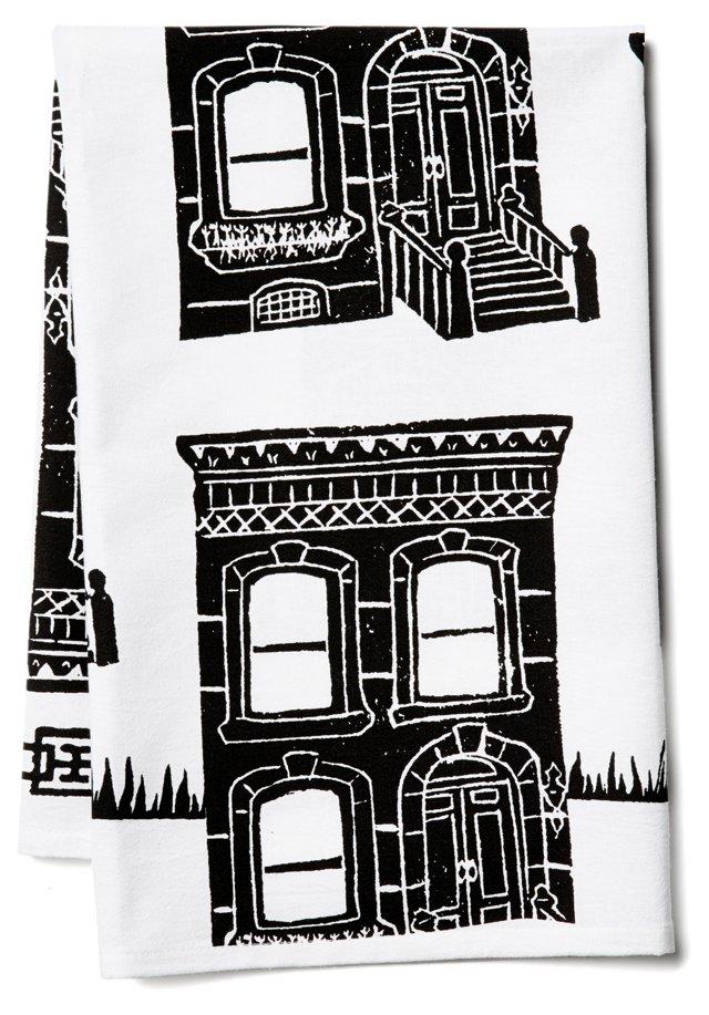 Brownstone Tea Towel, Black
