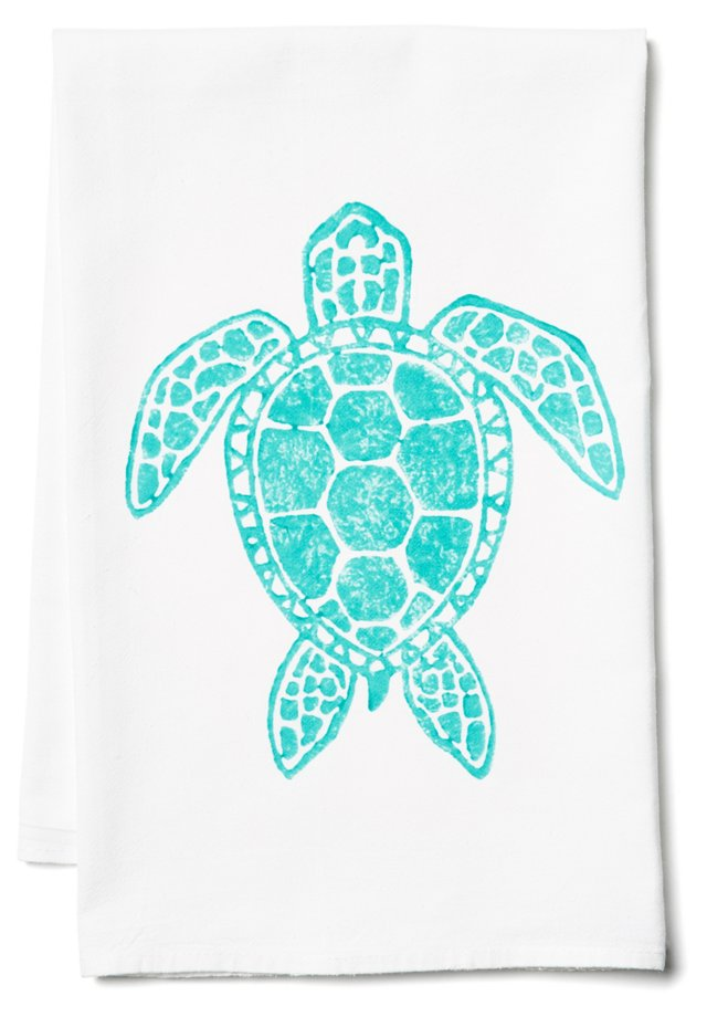S/2 Sea Turtle Tea Towels, Aqua
