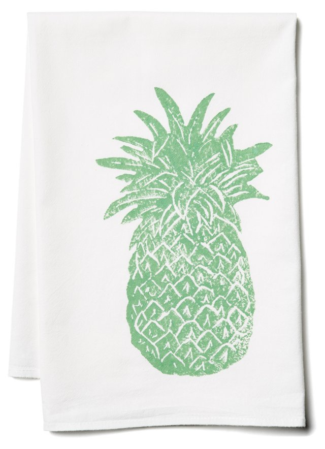 S/2 Pineapple Tea Towels, Seafoam