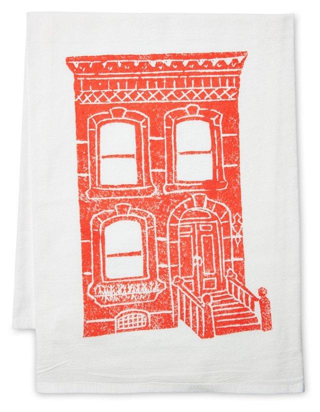 S/2 Brownstone Tea Towels, Coral