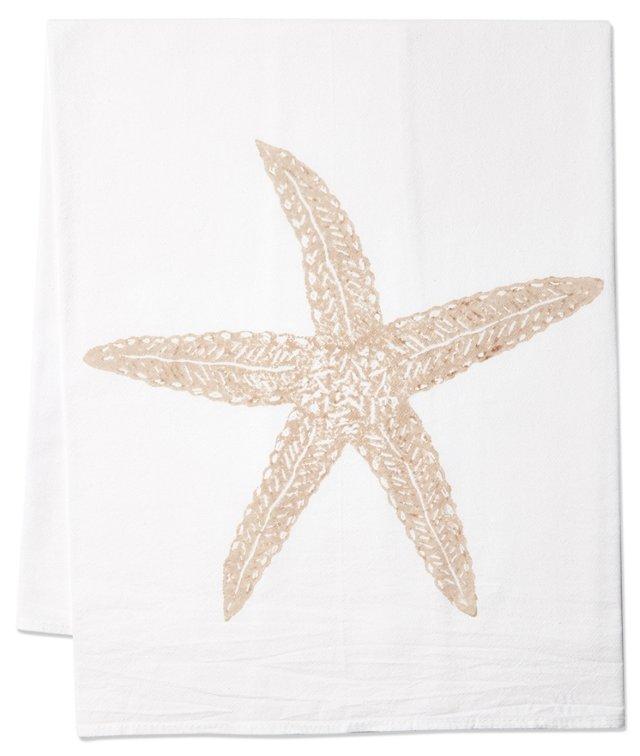 S/2 Starfish Tea Towels, Sand