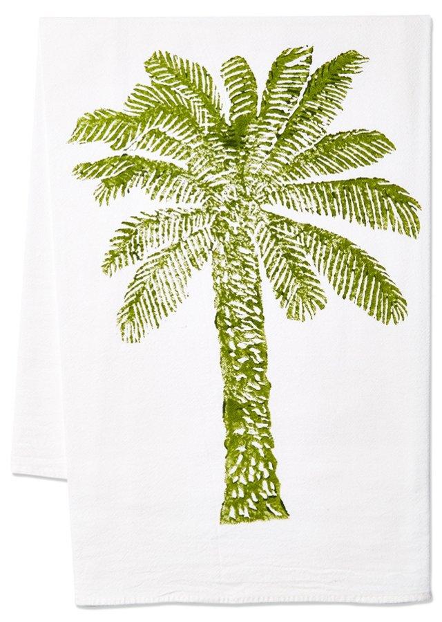 S/2 Palm Tree Tea Towels, Green