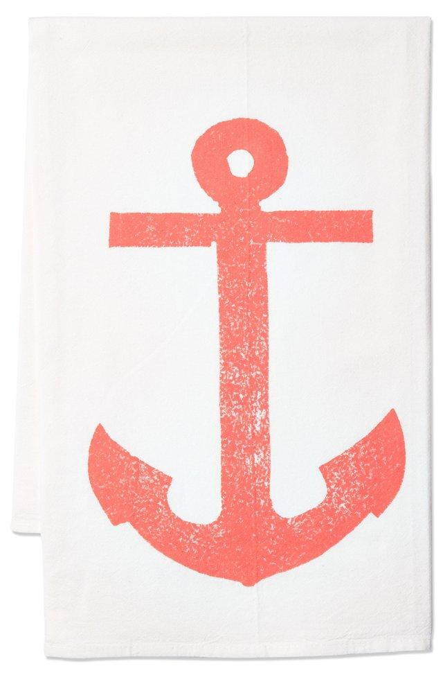 S/2 Anchor Tea Towels, Coral