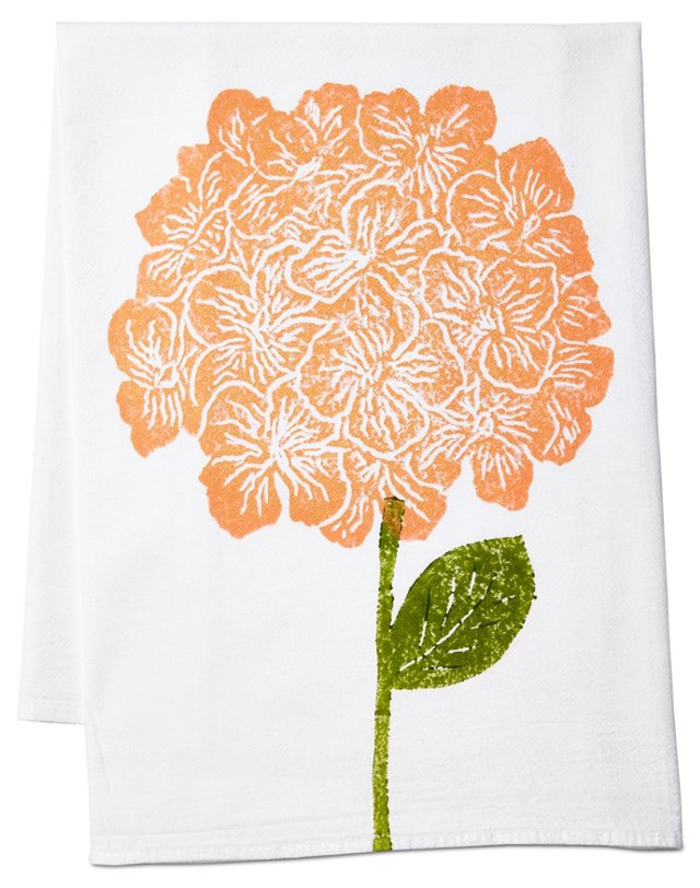 S/2 Hydrangea Tea Towels, Peach