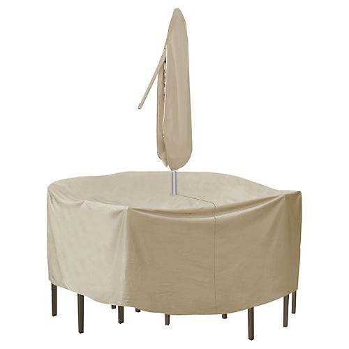 Round Table & Chair Cover, Tan