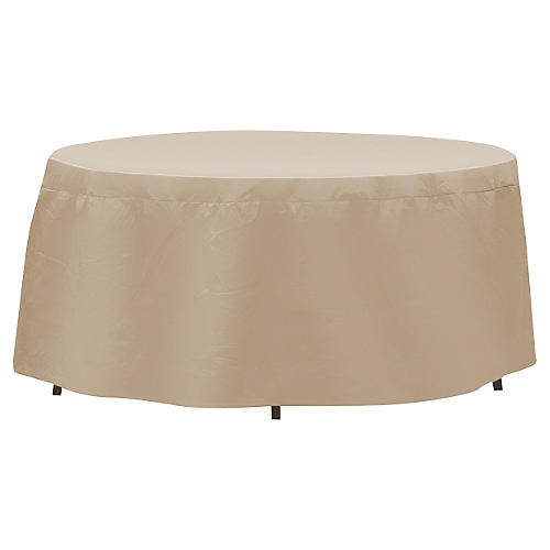 "76"" Oval/Rectangular Table Cover, Tan"