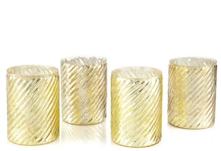 S/4 Swirled Votive Holders, Gold