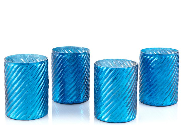 S/4 Swirled Votive Holders, Cobalt