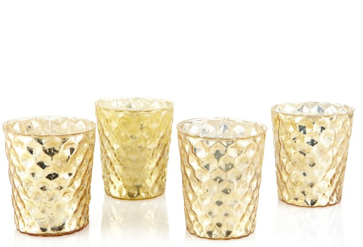 S/4 Mercury Glass Votives, Gold