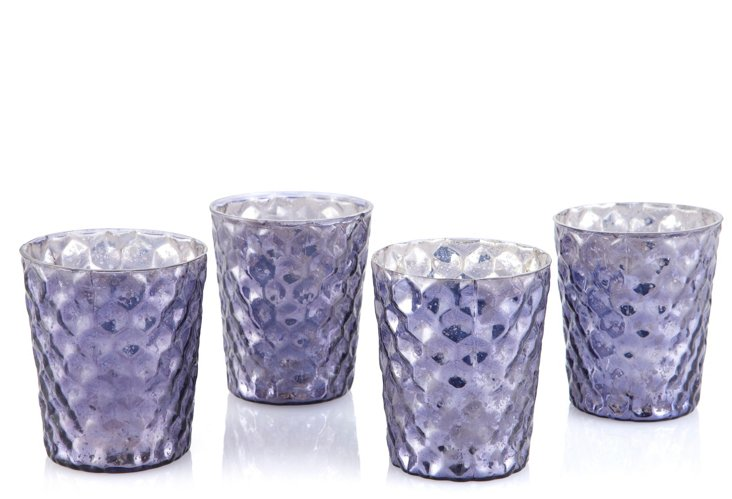 S/4 Mercury Glass Votives, Amethyst