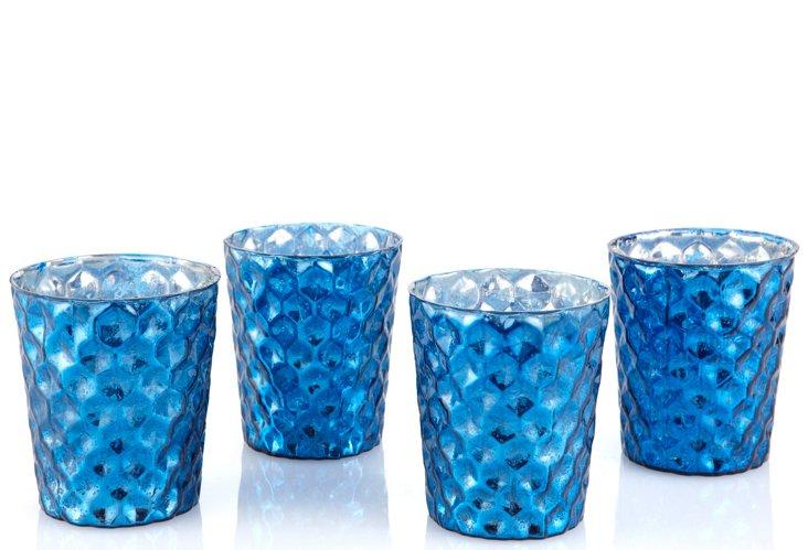 S/4 Mercury Glass Votives, Cobalt