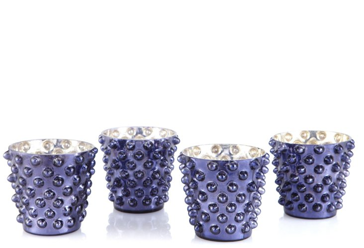 Set of 4 Dot Glass Votives, Amethyst