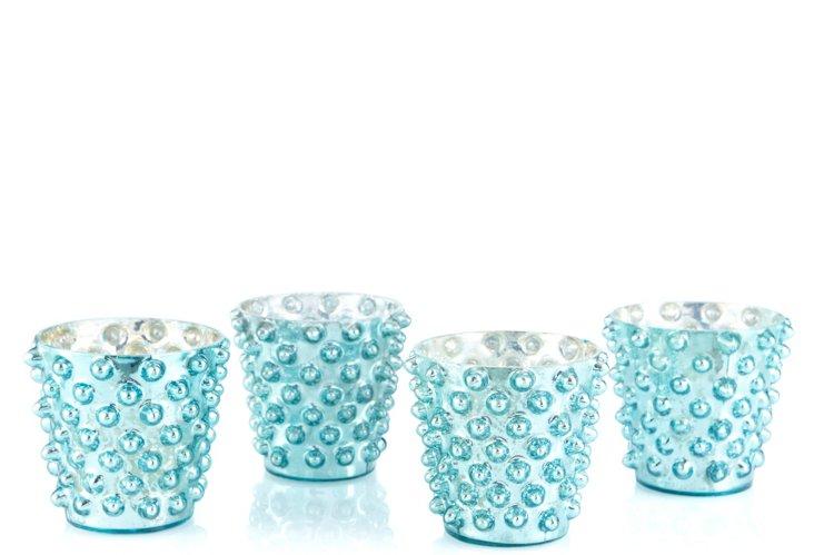 Set of 4 Dot Glass Votives, Lt Blue