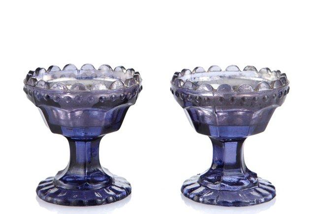 S/2 Glass Tea Lights, Amethyst