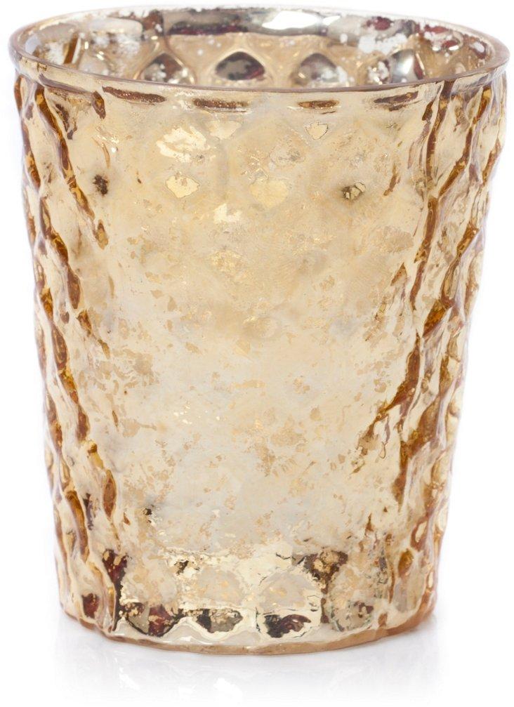 S/4 Glass Votives, Gold