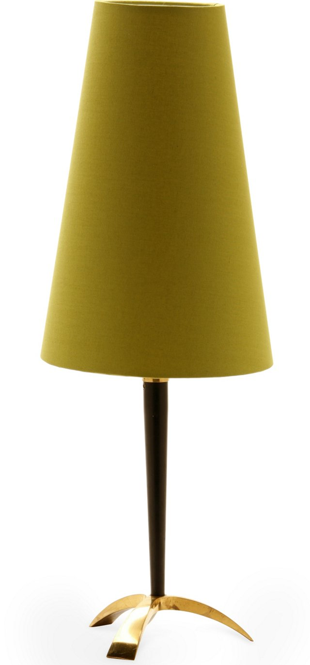 Vintage Brass & Wood Table Lamp