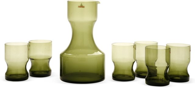 1970s Oberglas Pitcher & 6 Glasses