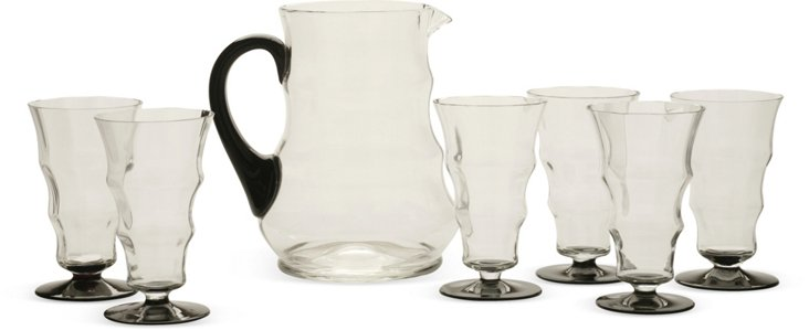 Pitcher & 6 Curved Glasses