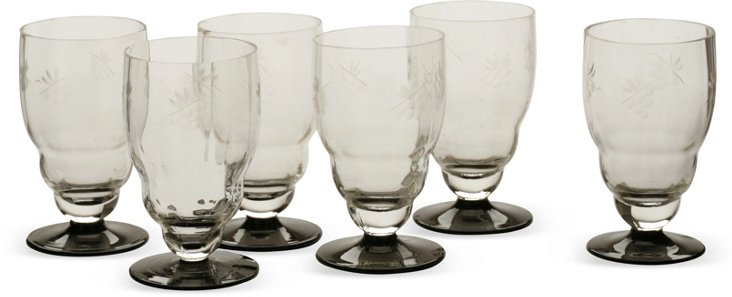 Black & Clear Etched Glasses, Set of 6