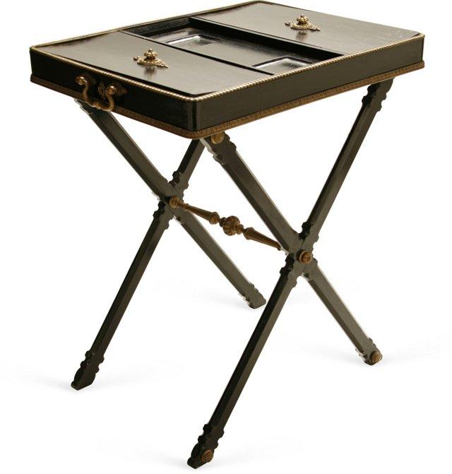 Antique Black Compartment Table