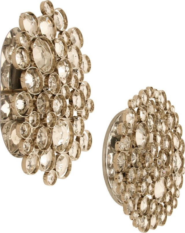 Faceted Glass Wall Sconces, Pair