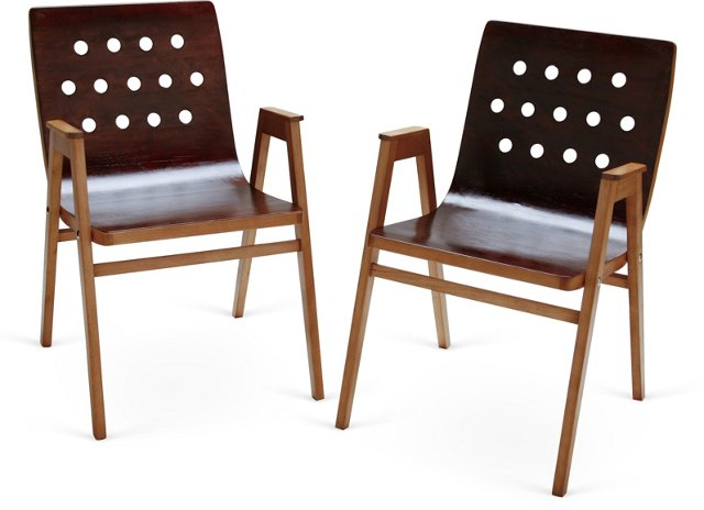 Roland Reiner Wood Chairs, Pair