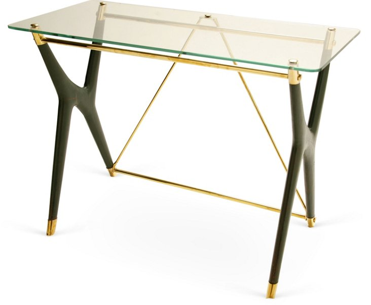 Italian Leather & Brass Table, C. 1950