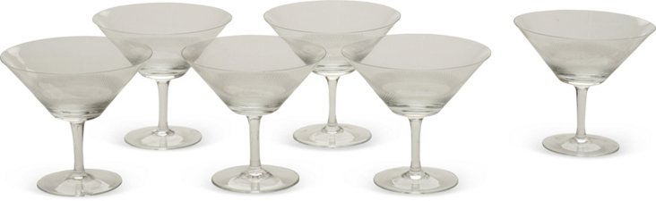 Crosshatch Champagne Glasses, Set of 6