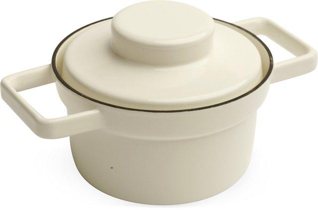 Cream RIESS Lidded Pot, Small